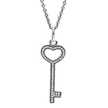 PANDORA Unlock My Heart with Clear CZ Necklace-801-666