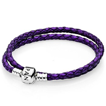 PANDORA Purple Double Braided Leather Bracelet