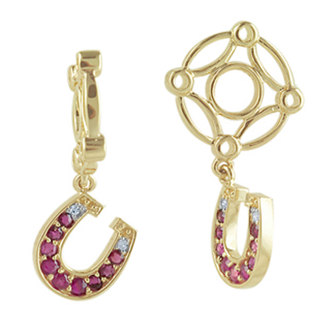 271233-Storywheels Ruby & Diamond Horseshoe Dangle 14K Gold Wheel ONLY 1 AVAILABLE!