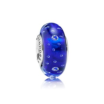 348157-PANDORA Dark Blue Effervescence with Clear CZ Murano Glass