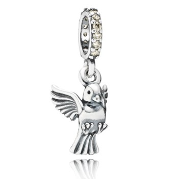 PANDORA Dove of Peace with Golden-Colored CZ Dangle RETIRED