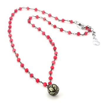 Black Pearl & Ruby Necklace-347611