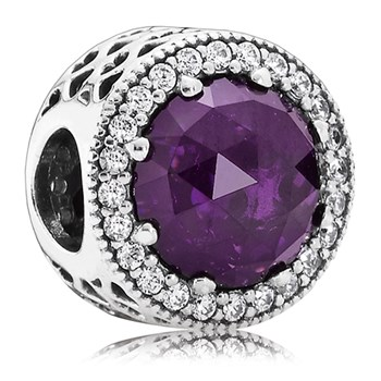802-3077-PANDORA Radiant Hearts with Royal Purple Crystal and Clear CZ Charm *OUT OF STOCK*