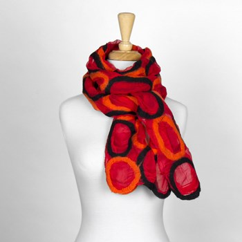 Red Circle Nuno Felted Scarf