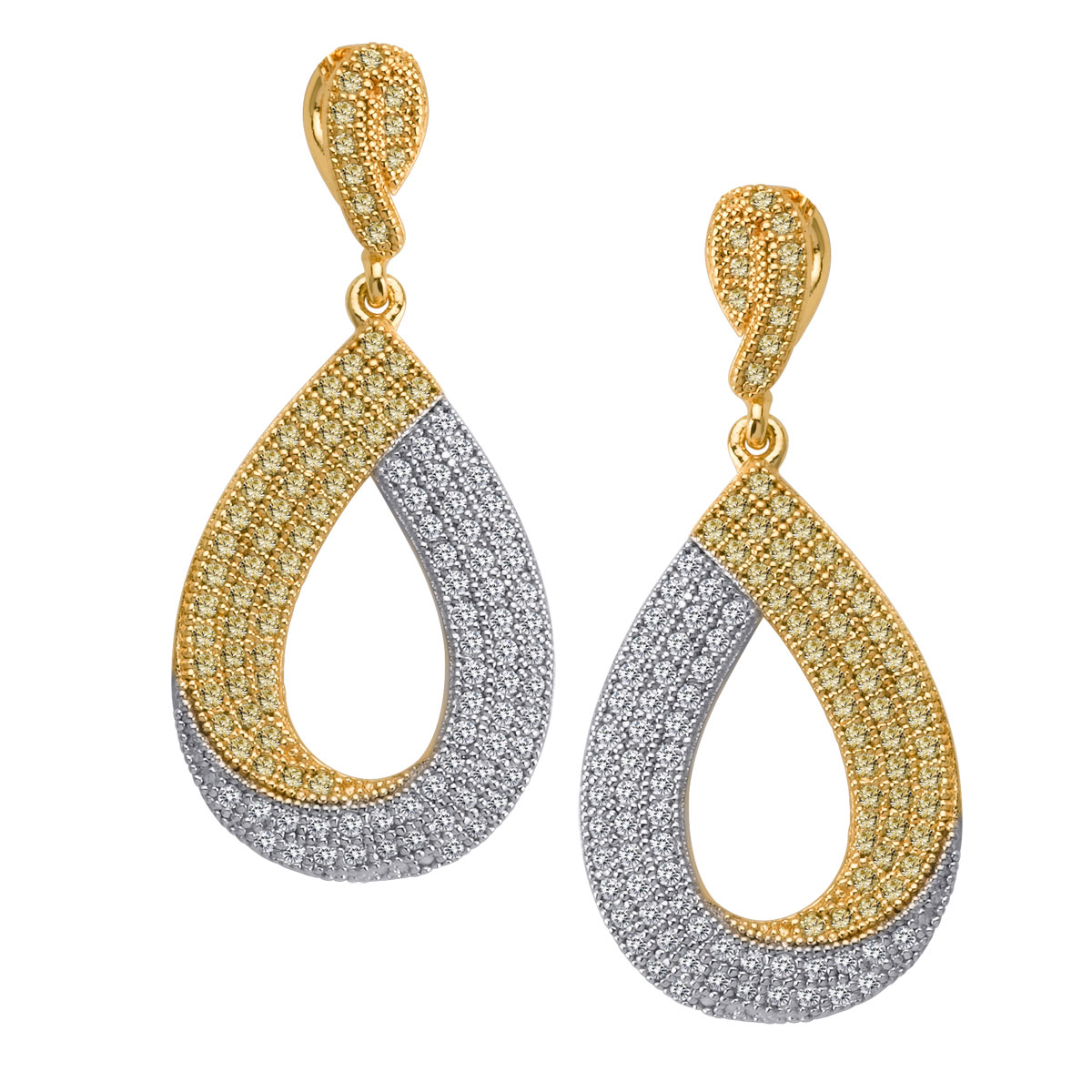 342422-Clear CZ Two Toned Earrings