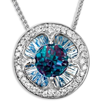 Galatea DavinChi Cut Blue Topaz Necklace-337356