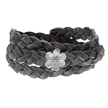 STORY by Kranz & Ziegler Triple Wrap Silver Flower Grey Braided Suede Bracelet RETIRED ONLY 3 LEFT!