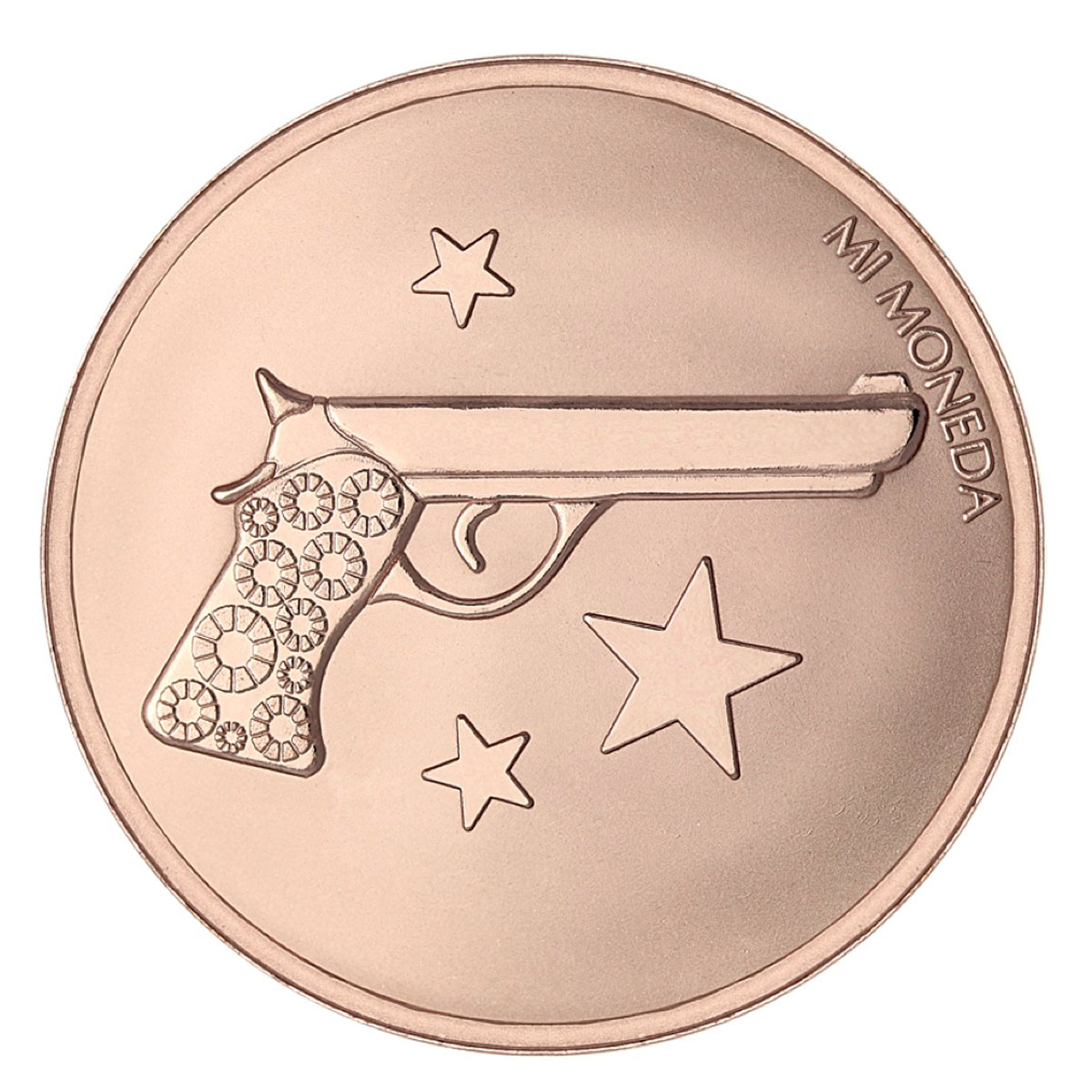 Mi Moneda Aim High & Pistol Rose Gold-Plated Disc - ONLY 3 LEFT