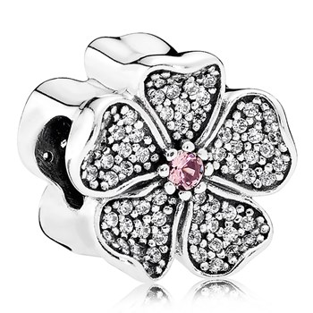 PANDORA Sparkling Apple Blossom with Blush Pink Crystal and Clear CZ Charm