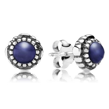 PANDORA Lapis September Birthday Bloom Stud Earrings-344327