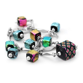235-627-Multi-Color Fancy Glass Bracelet