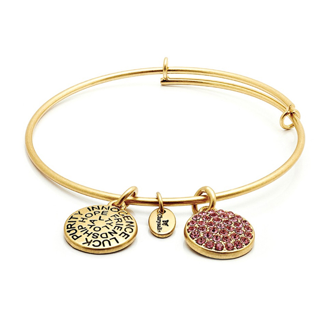 OCTOBER Pink Tourmaline Crystal Bangle - Chrysalis Good Fortune Collection