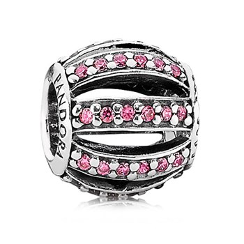 342898-PANDORA Leading Lady with Pink Pavé Charm RETIRED