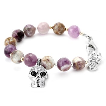 345080-10MM Amethyst and Clear CZ Skull Lollie