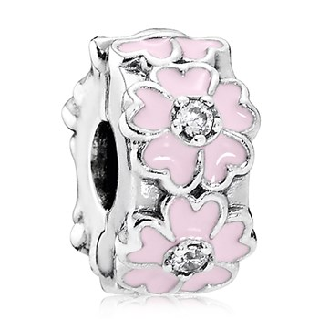PANDORA Pink Primrose with Light Pink Enamel and Clear CZ Clip