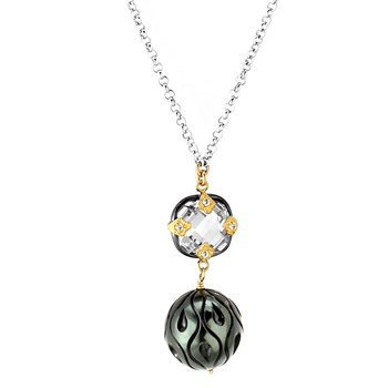 Topaz & Black Pearl Necklace-349313