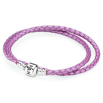 PANDORA Pink Double Braided Leather Bracelet-590705CMP