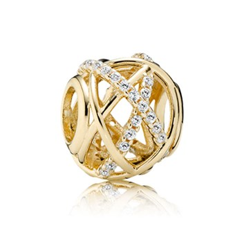 PANDORA 14K Galaxy with Clear CZ Charm-348161