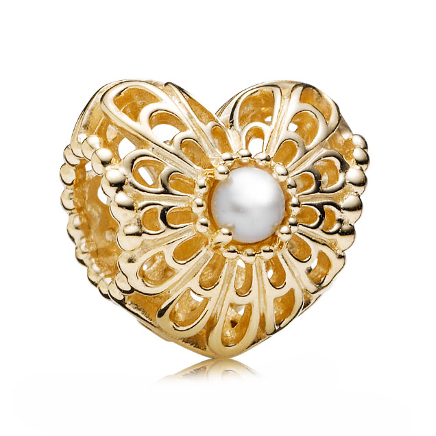 346992-PANDORA 14K Vintage Heart with Pearl Charm