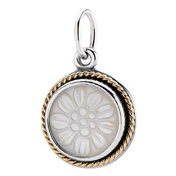 PANDORA Daisy Signet with 14K and Mother of Pearl Stories Pendant RETIRED 340197