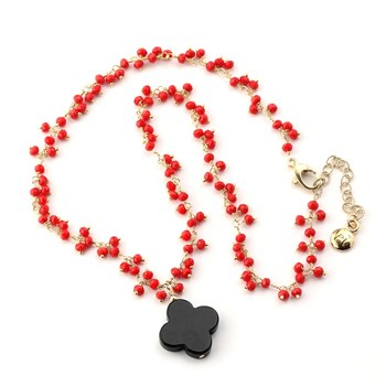 Onyx Quatrefoil & Red Glass Necklace-348499