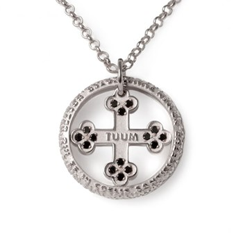 Our Father Flore Sterling Silver & Black Diamond Necklace