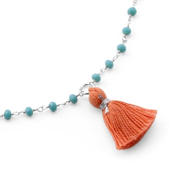 235-534-Amazonite & Orange Tassel Necklace