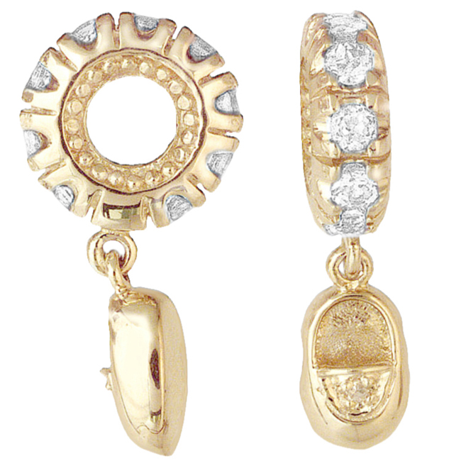 265454-Storywheels White Topaz & Diamond Baby Shoe Dangle 14K Gold Wheel ONLY 2 AVAILABLE!