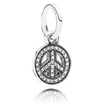 PANDORA Symbol of Peace with Clear CZ Pendant RETIRED ONLY 1 LEFT! 347077