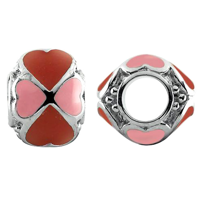 333715-Storywheels Red/Pink Enamel Heart Sterling Silver Charm
