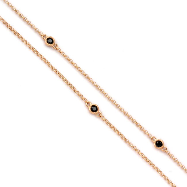 343329-Rose Gold and Black Diamond Chain