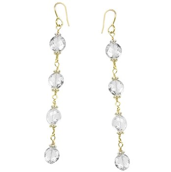 White Topaz Earrings-251419