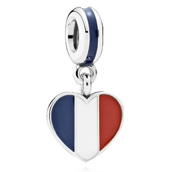 802-3016-PANDORA France Heart Flag with Enamel Dangle