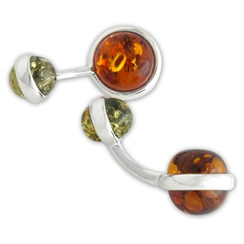 335105-Green & Brown Amber Cuff Links