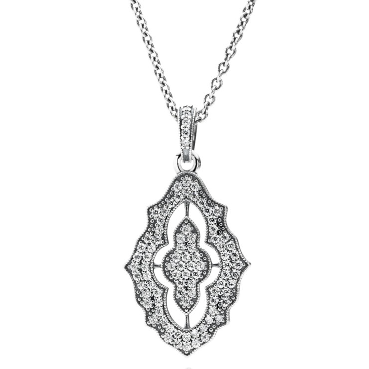 PANDORA Sparkling Lace with Clear CZ Necklace-348213