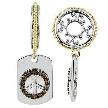 331623-Storywheels Brown Diamonds Peace Sign Dog Tag Sterling Silver/14K Gold Wheel ONLY 2 AVAILABLE!