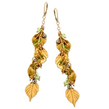 Peridot Leaf Earrings-335280