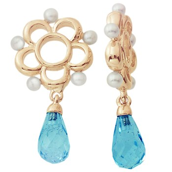 333956-Storywheels Swiss Blue Topaz & Pearl Dangle 14 Gold Wheel RETIRED ONLY 2 LEFT!
