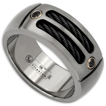 Edward Mirell's Men's Cable Sport Titanium & Black Diamond Ring