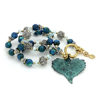 Chrysocolla Leaf Necklace-235-662