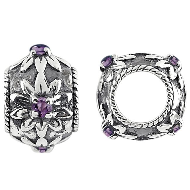 336867-Storywheels Amethyst Flowers Sterling Silver Wheel ONLY 2 AVAILABLE!