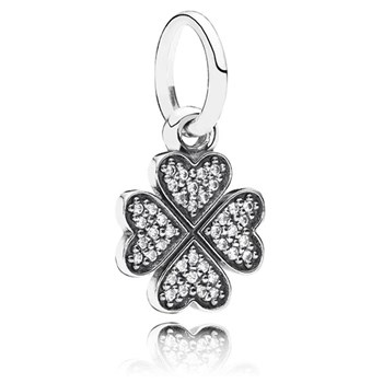347078-PANDORA Symbol of Lucky in Love Shamrock with Clear CZ Pendant