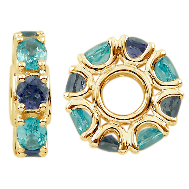 304320-Storywheels Swiss Blue Topaz & Iolite 14K Gold Wheel ONLY 1 AVAILABLE!