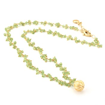 Golden Pearl & Peridot Necklace-347620