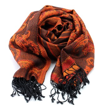 340046-Orange & Black Patterned Silk Shawl