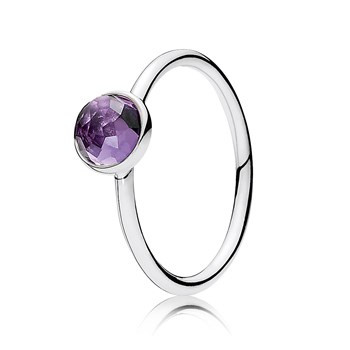 PANDORA February Droplet with Synthetic Amethyst Ring