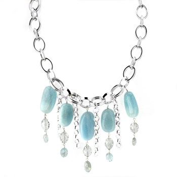 Aquamarine and Quartz Necklace-346359