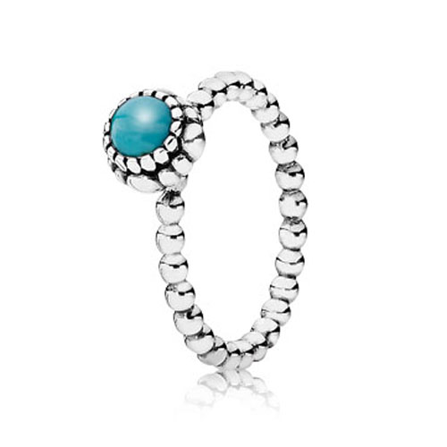 PANDORA Turquoise December Birthday Bloom Stackable Ring