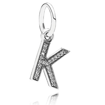 PANDORA Letter K with Clear CZ Pendant-346446