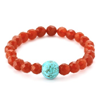 346334-Red Agate and Turquoise Bracelet